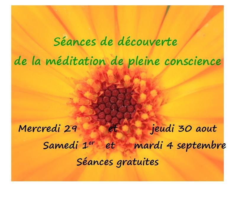 Programme des Séances de découverte de la méditation de pleine conscience